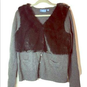 Simply Vera Wang Sweater, size L, gray/black fur